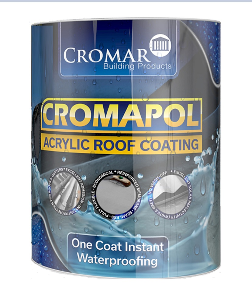 Cromapol Acrylic Waterproofing Roof Coating 2.5Kg In Black