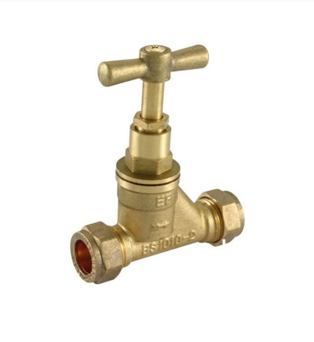 Brass 15mm Compression Mains Water Stop Tap